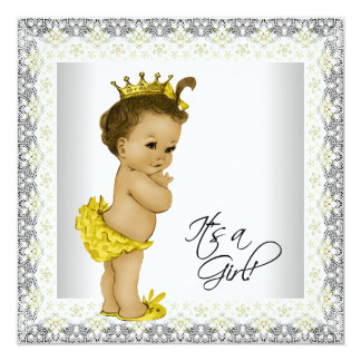 Yellow and Gray Baby Girl Shower Card