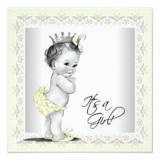 Yellow and Gray Baby Girl Shower Custom Invitations