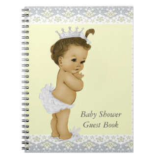 Yellow and Gray Baby Shower Guest Book Notebook