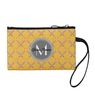 Yellow and gray Baseball Bat Pattern Personalized Coin Wallet
