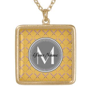 Yellow and gray Baseball Bat Pattern Personalized Gold Plated Necklace