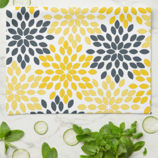 Yellow and Gray Charcoal Modern Floral Kitchen Towels