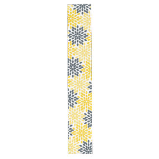 Yellow and Gray Charcoal Modern Floral Long Table Runner