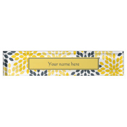 Yellow and Gray Charcoal Modern Floral Name Plate