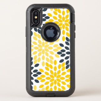 Yellow and Gray Charcoal Modern Floral OtterBox Defender iPhone X Case