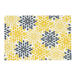 Yellow And Gray Charcoal Modern Floral Placemat at Zazzle