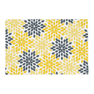 Yellow and Gray Charcoal Modern Floral Placemat