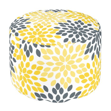 Yellow and Gray Charcoal Modern Floral Pouf