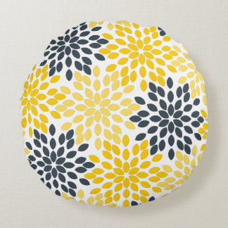 Yellow and Gray Charcoal Modern Floral Round Pillow