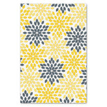Yellow and Gray Charcoal Modern Floral Tissue Paper