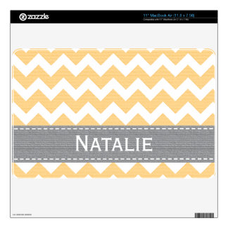 Yellow and Gray Chevron 11 in MacBook Air Skin