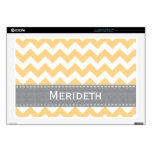 Yellow and Gray Chevron 17 Inch Laptop Skin