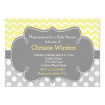 Yellow and Gray Chevron Baby Shower Card