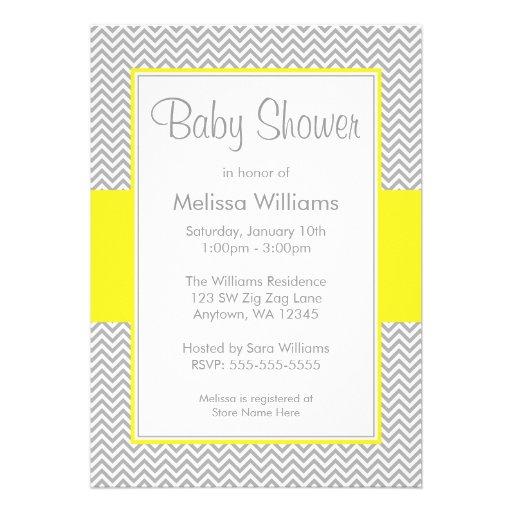 gray chevron baby shower invitations 5 x 7 invitation card