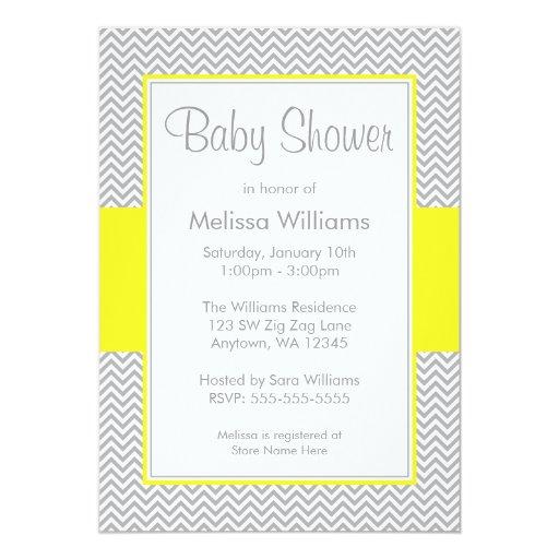 yellow and gray chevron baby shower invitations zazzle