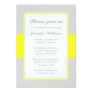 Yellow and Gray Chevron Bridal Shower Card
