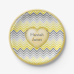 Yellow and Gray Chevron Custom Heart Paper Plate  sc 1 st  Zazzle & Yellow Gray Chevron Plates | Zazzle