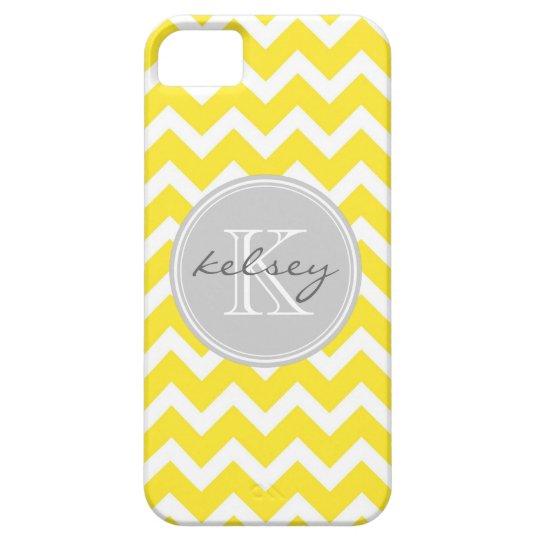 Yellow and Gray Chevron Custom Monogram iPhone SE/5/5s Case