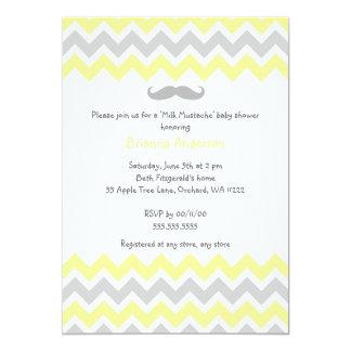 Yellow and Gray Chevron Milk Mustache Baby Shower Card