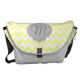 Yellow and Gray Chevron Monogram Personalized Bag