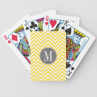 Yellow and Gray Chevron Pattern Custom Monogram Bicycle Playing Cards