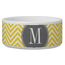 Yellow and Gray Chevron Pattern Custom Monogram Bowl