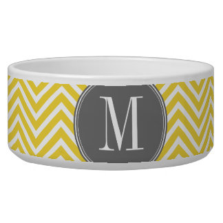 Yellow and Gray Chevron Pattern Custom Monogram Dog Bowls