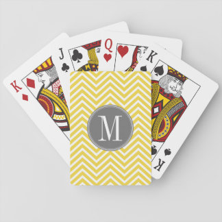 Yellow and Gray Chevron Pattern Custom Monogram Playing Cards