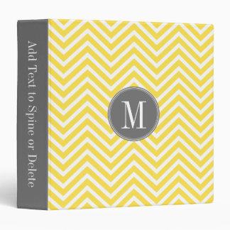 Yellow and Gray Chevron Pattern Custom Monogram Vinyl Binder