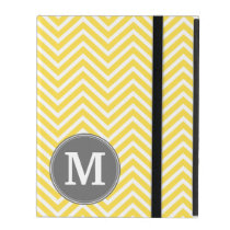 Yellow and Gray Chevron Pattern with Monogram iPad Case