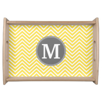 Yellow and Gray Chevron Pattern with Monogram Serving Platter