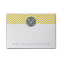 Yellow and Gray Chevron Pattern with Monogram Post-it Notes