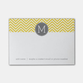 Yellow and Gray Chevron Pattern with Monogram Post-it® Notes