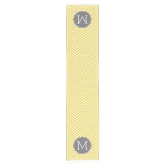 Yellow and Gray Chevron Pattern with Monogram Short Table Runner