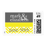 Yellow and Gray Chevron Save the Date Stamp