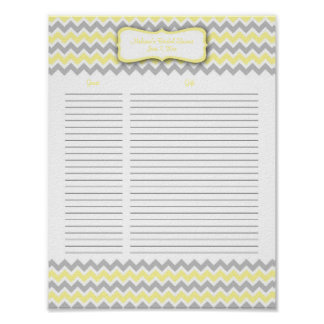 Yellow and Gray Chevron Shower Gift List Poster