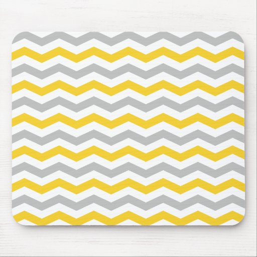 Yellow and Gray Chevron Stripes Mouse Pads