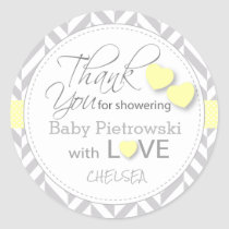 Yellow and Gray Chevron Thank You Classic Round Sticker