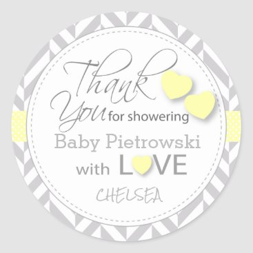 Valentines Themed Yellow and Gray Chevron Thank You Classic Round Sticker