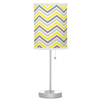 Yellow and Gray Chevron Zigzag Pattern Table Lamp