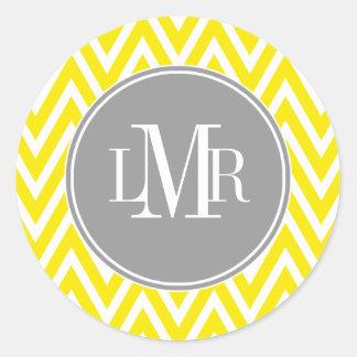 Yellow and Gray Chevrons Monogram Classic Round Sticker