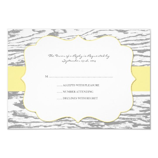 Yellow and Gray Chic Wood Grain Wedding rsvp Card
