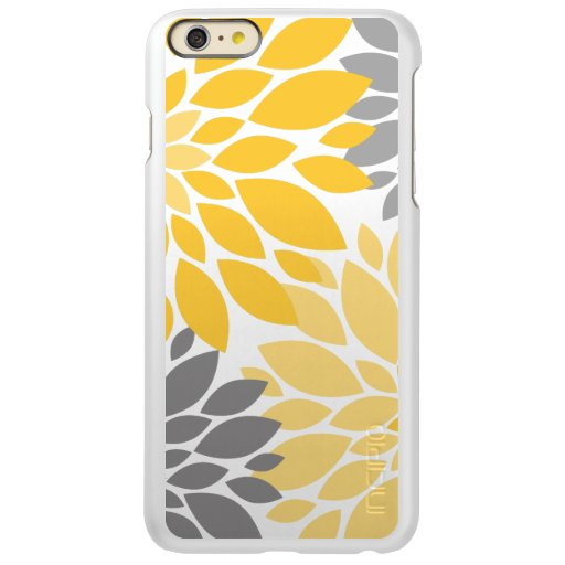 Yellow and Gray Chrysanthemums Floral Pattern Incipio Feather Shine iPhone 6 Plus Case