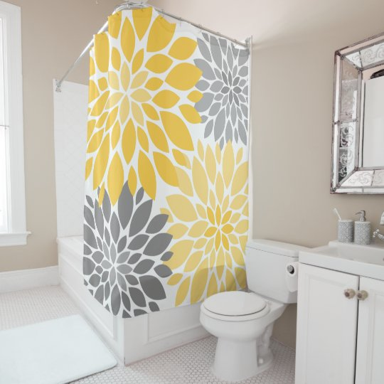 Yellow And Gray Chrysanthemums Floral Pattern Shower
