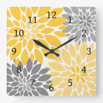 Yellow and Gray Chrysanthemums Floral Pattern Square Wall Clock