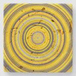 [ Thumbnail: Yellow and Gray Circular Pattern Coaster ]