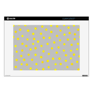 """Yellow And Gray Confetti Dots 15"""" Laptop Decal"""