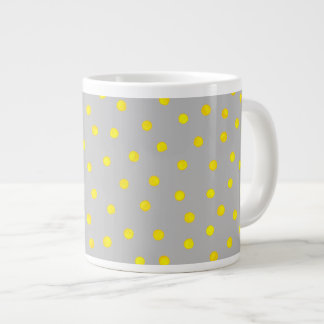 Yellow And Gray Confetti Dots Large Coffee Mug