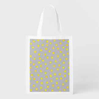 Yellow And Gray Confetti Dots Reusable Grocery Bag