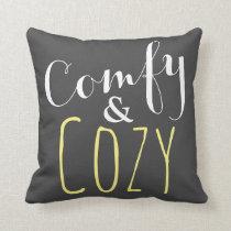Yellow and Gray - Cozy Fun Home Decor Throw Pillow